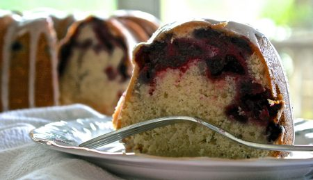 Huckleberry Butter Cake with Lemon Glaze